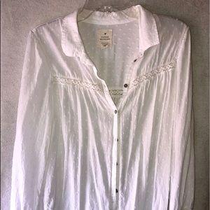 AE white button down , lightweight summer shirt.